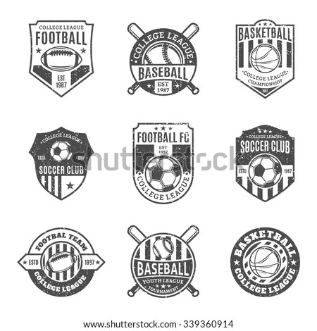 Set of retro styled sport team logo templates. Soccer, football, baseball, basketball labels with sample text. Sport icons for sport tournaments, organizations and apparel. Sport team identity. - stock vector