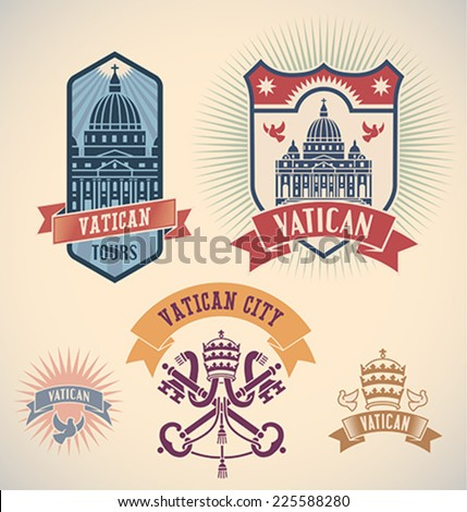 Set of retro-styled Vatican city tour labels. Editable vector illustration. - stock vector