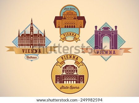 Set of retro-styled Vienna city tour labels. Editable vector illustration. - stock vector
