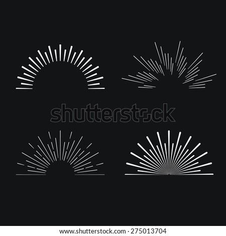 Set of Retro Sun burst shapes. Vintage logo, identity, labels, badges and objects.  Sun ray frames vector design elements. - stock vector