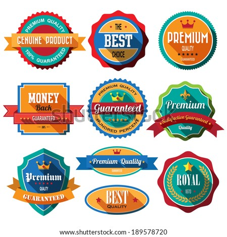 Set of retro vintage badges and label 04s. Flat design with long shadow .eps10  - stock vector