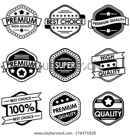 Set of retro vintage badges and labels. Black and White Style
