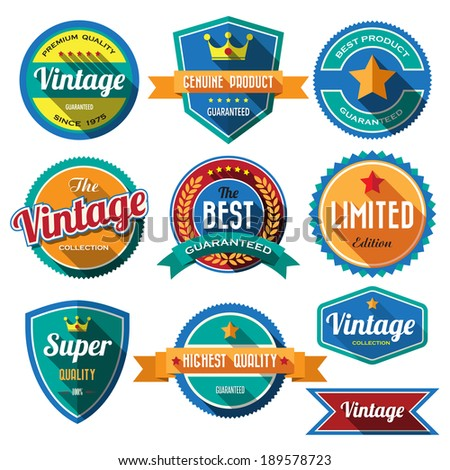 Set of retro vintage badges and labels 02. Flat design with long shadow .eps10