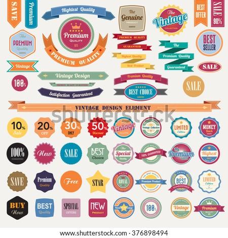Set of retro vintage badges and labels.Illustrator eps10 - stock vector