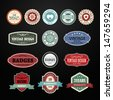 Set of retro vintage badges and labels on black background vector illustration - stock vector