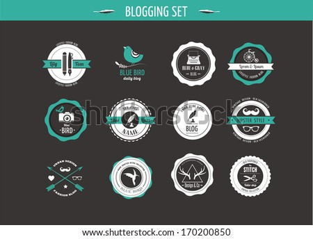 Set of retro vintage badges, blog elements and labels, black backgound - stock vector