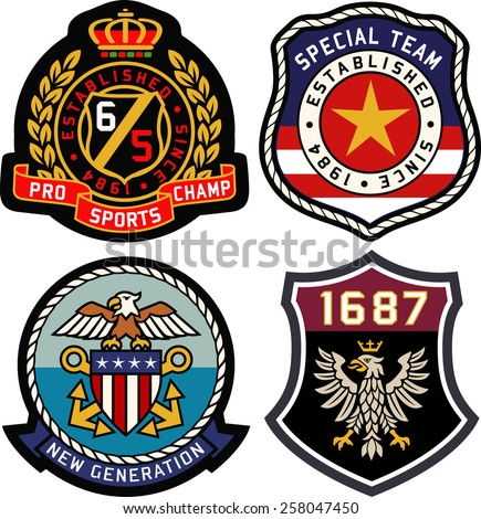 Set of retro vintage badges shielding - stock vector