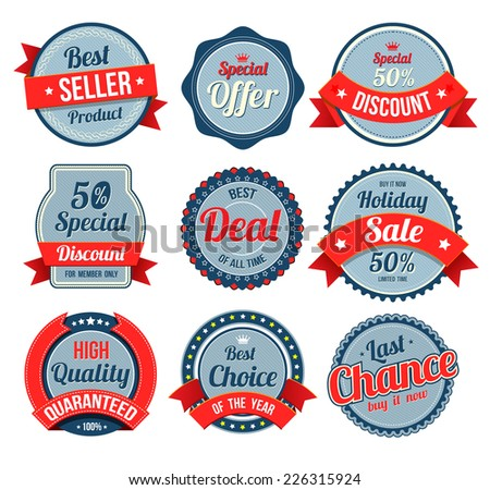 Set of retro vintage banner, badges and labels. Vector illustration. Can use for printing and web element. - stock vector
