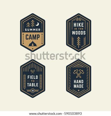 Set Of Retro Vintage Banner Shape Logo Badges