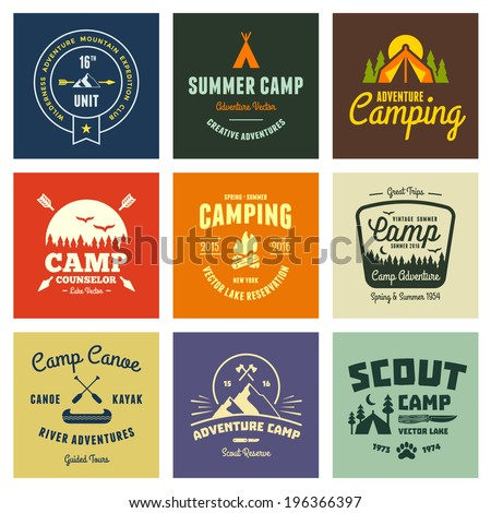 Set of retro vintage camp labels and logo graphics