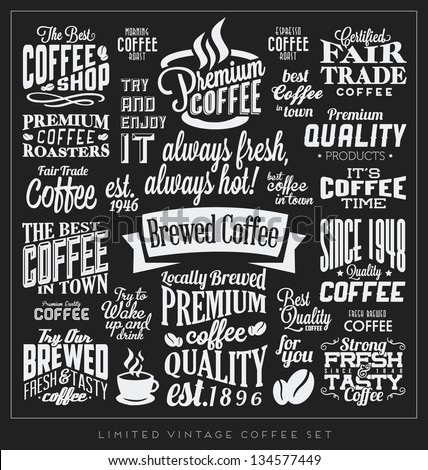 Set Retro Vintage Coffee Labels Calligraphic Stock Vector
