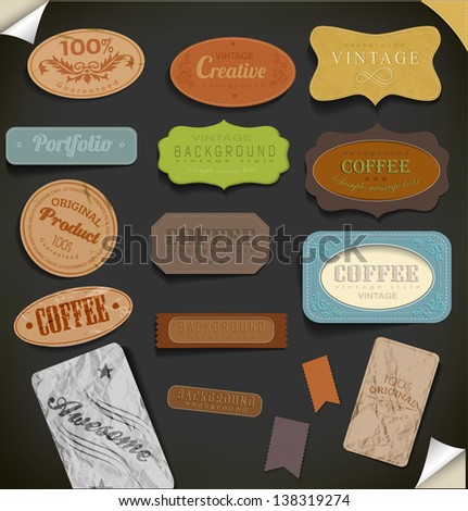 Set of retro vintage coffee, premium quality, awesome labels. Vector illustration. - stock vector