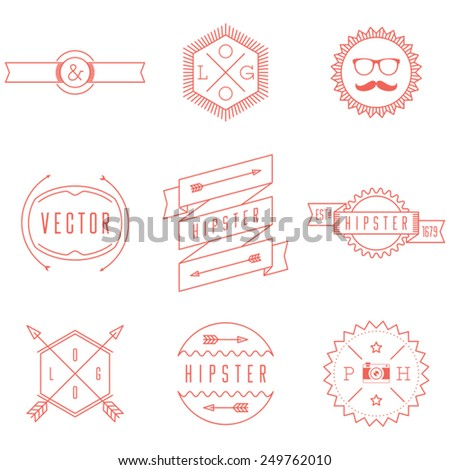 Set of Retro Vintage Hipster Logotypes. Retro Business signs, vintage logos and other design elements in line style. - stock vector