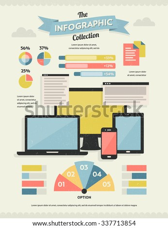 Set of Retro Vintage Infographic Elements for Your Documents and Reports - stock vector