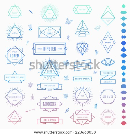 Set of Retro Vintage Insignias and Logotypes. Business Signs, Logos, Identity Elements, Labels, Badges, Frames, Borders and Other Design Elements. Instagram Color Style. - stock vector