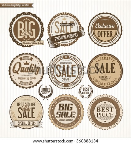 Set of Retro vintage labels and badges - stock vector