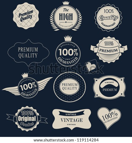 Set of retro vintage labels  and  ribbons. Vector illustration. - stock vector