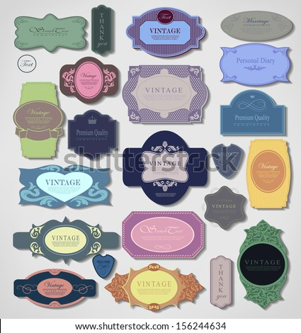 Set of retro vintage labels. Vector