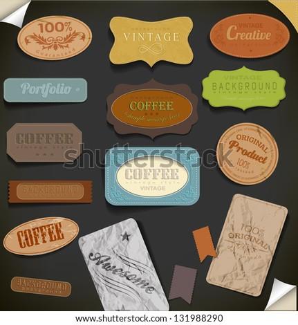 Set of retro vintage labels. Vector illustration. - stock vector