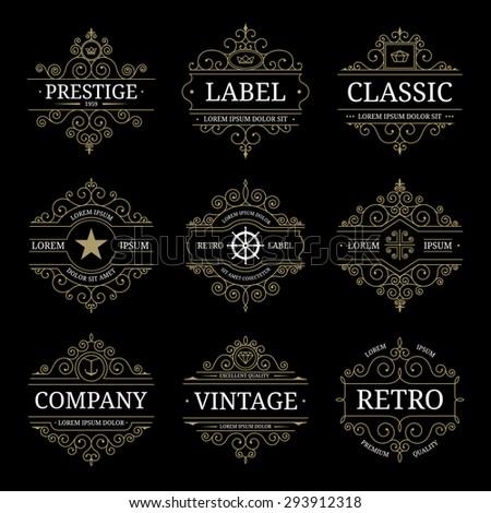 Set of retro vintage luxury logo templates with flourishes elegant calligraphic design elements. Restaurant, boutique, cafe, shop,hotel, jewelry, heraldic identity. Vector illustration - stock vector