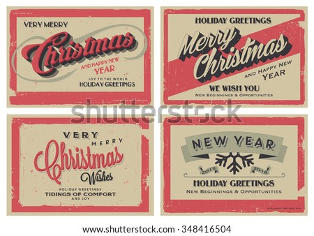 Set of Retro Vintage Merry Christmas and Happy New Year Background for Greeting Card, Poster, Label and Other Decoration with Typographic Elements  - stock vector