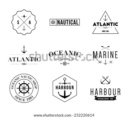 Set of retro vintage nautical labels and badges logo templates. Hipster style design, brand, branding, logotype, company, corporate, identity, sail, sailing Clean and modern, vector eps 10 - stock vector