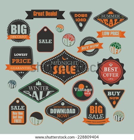 Set of retro vintage sale and promotional advertising labels - stock vector