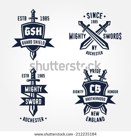 Set of retro vintage sword badges, shields, crests and heraldry logo design elements  - stock vector