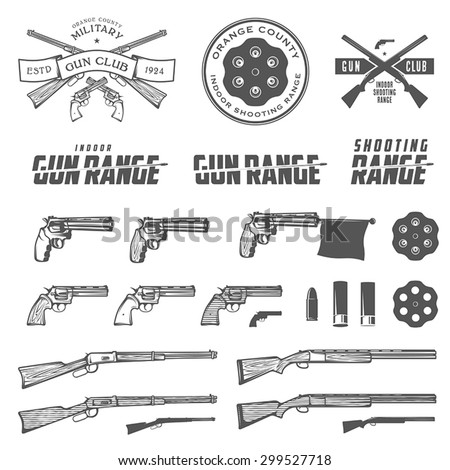 Set of retro weapons labels, emblems and design elements - stock vector