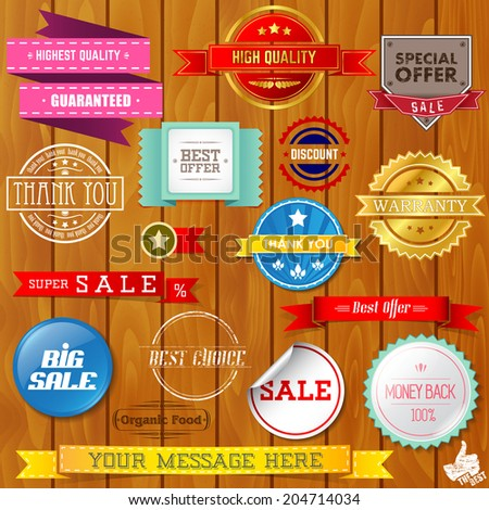 Set of ribbons and labels on wooden texture. Vector illustration.  - stock vector