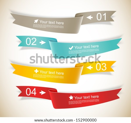 Set of ribbons. Infographic design. Numbered banners. - stock vector