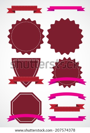 set of ribbons label and badge vector illustrations - stock vector