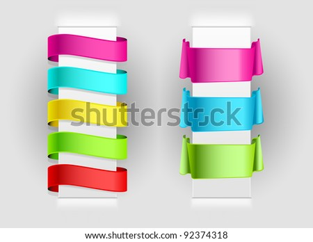 set of ribbons on paper background - stock vector