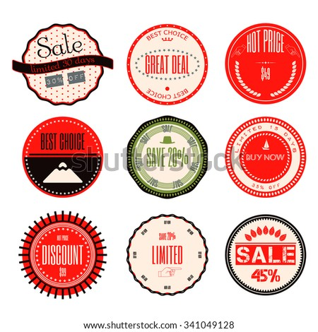Set of Ribbons, Stickers, Labels. Vector.