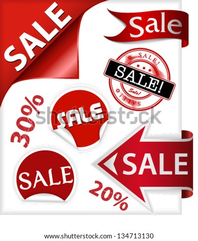 Set of ribbons, stickers, stamps and labels with word sale