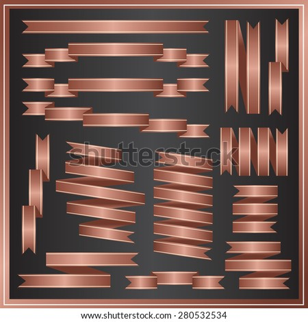 SET OF RIBBONS VECTOR : BRONZE
