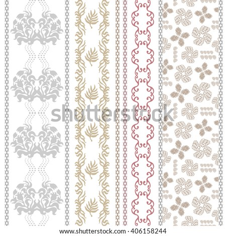 Set of rich lace borders with bohemian motifs. Hand drawn seamless damask pattern, kimono print, baroque stripes. Vintage textile collection. Golden, silver shadows on white.   - stock vector
