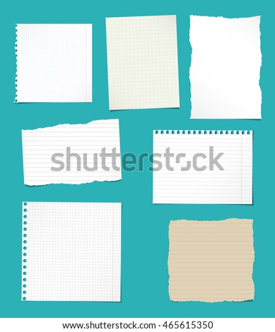 Set Ripped White Brown Ruled Math Stock Vector 465615350 - Shutterstock