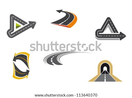 Set of road and highway icons and symbols for transportation design, such a logo idea. Jpeg version also available in gallery