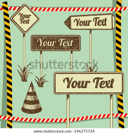 set of road signs and traffic signs - stock vector