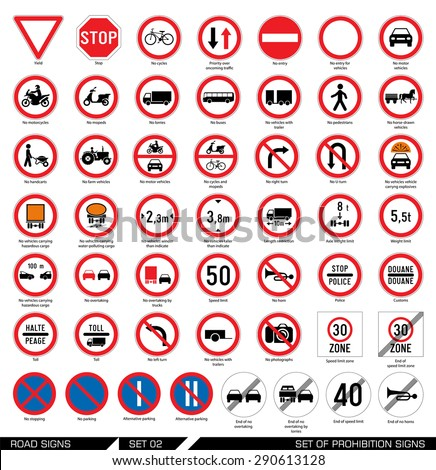 Set of road signs. Collection of mandatory and prohibition traffic signs. Vector illustration.  - stock vector