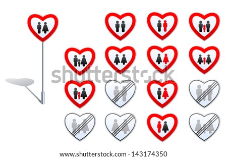 Set of road signs designed with heart shape and human pictograms. Its about gender relation, family, marriage, child adoption, prohibitions and de-restrictions in these fields. - stock vector