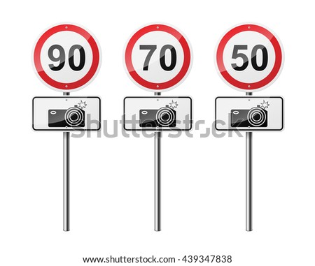 Set of 3 road signs, isolated on white background. Speed-limit cameras. EPS10 vector illustration. - stock vector
