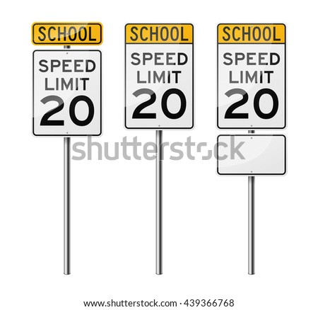 Set of 3 road signs, isolated on white background. Speed limit. School. EPS10 vector illustration. - stock vector