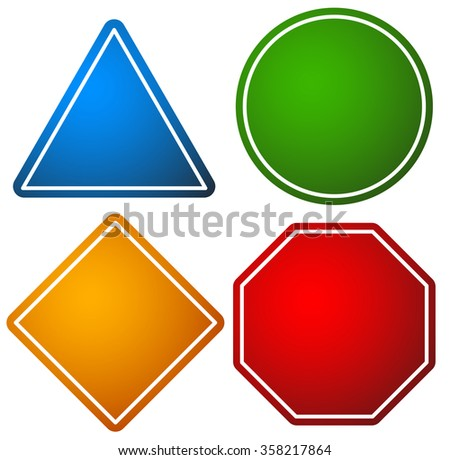 Set of road signs. Triangle, circle, square and octagon, stop sign vector. - stock vector
