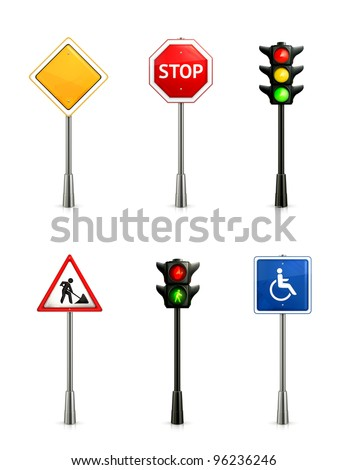 Set of road signs, vector - stock vector