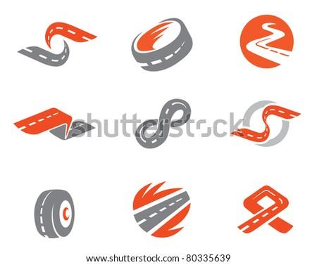 Set 2 of road symbols. Also as emblem. - stock vector