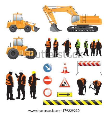Set of road under construction. Machines, workers, signs and banners - stock vector