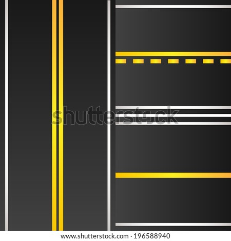 Set of road with yellow marking background - stock vector