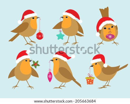 Set of Robins in Santa hats with Christmas decorations. - stock vector